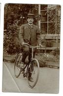 Photo Carte C1915, Alphonse Hance  - Bighin Sur Sa Bicyclette - Chef D'école, Frasnes-lez-Gosselies - 2 Scans - Les Bons Villers