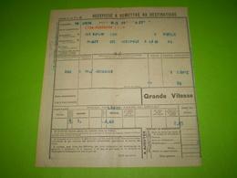 Chemin De Fer PLM,griffe Linéaire De La Gare De LYON PERRACHE 1 PLM, Titre De Transport En Grande Vitesse Pour Loriol - Titres De Transport