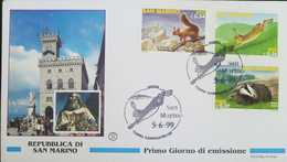 L) 1999 SAN MARINO, ANIMALS, FAUNA, CHIPMUNK, MELES MELES, ARCHITECTURE, MULTIPLE STAMPS, FDC - FDC