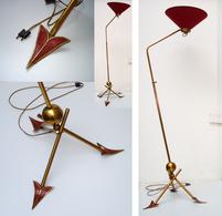 Vintage Ancienne Lampe Lampadaire M. KOBIS & R. LORENCE Mid Century Modern Tripod Arrows Floor Lamp 1950 50's - Luminaires