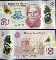 """MEXICO 2017 $50 POLYMER Banknote """"double Butterfly Window Type"""" SERIES X Mint, Crisp. - Mexico"""