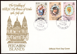 Pitcairn Islands 1981 Mi# 209-11 FDC ROYAL WEDDING - Timbres