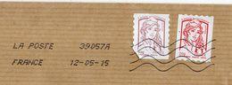 2015-- Lettre Marianne Ciappa Kavena Adhésif  50g + 20g Roulette Adhésif Cachet Toshiba -format C 4 - Marcophilie (Lettres)