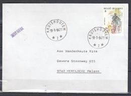 Brief Van Kruishoutem 2  (sterstempel) Naar Merelbeke - Marcophilie