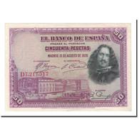 Billet, Espagne, 50 Pesetas, 1928, 1928-08-15, KM:75b, TTB+ - [ 1] …-1931 : Eerste Biljeten (Banco De España)