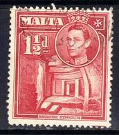 Malta 1938 - 43 KGV1 1 1/2d Scarlet SG 220  ( F723 ) - Malte (...-1964)