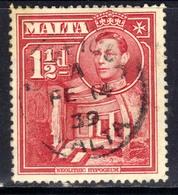 Malta 1938 - 43 KGV1 1 1/2d Scarlet SG 220  ( F1128 ) - Malte (...-1964)