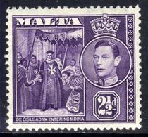 Malta 1938 - 43 KGV1 2 1/2d Dull Violet MM SG 222a  ( F1154 ) - Malte (...-1964)