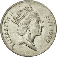 Monnaie, Fiji, Elizabeth II, 20 Cents, 1990, TTB, Nickel Plated Steel, KM:53a - Figi