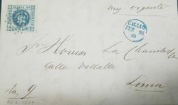 O) 1859 PERU, COAT OF ARMS, SCT 3 1 Dinero Deep Blue. FROM CALLAO CIRCULAR DATE IN BLUE WICH CANCELS THE PACIFIC STEAM N - Peru