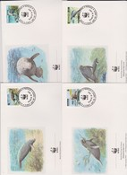 World Wide Fund For Nature 1993 Guyana Manatee,Set 4 Official First Day Covers - FDC