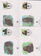 World Wide Fund For Nature 1994 Laos Sun Bear,Set 4 Official First Day Covers - FDC