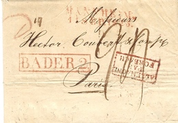 1825- Letter From MANNHEIM To Paris - -  BADE. R . 2 Red From Carlsruhe + ALLEMAGNE /PAR /FORBACH - [1] ...-1849 Precursori