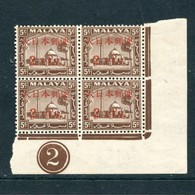 Malaya 1942 Jap Occup 2c On 5c Selangor Stamps In Plate B/4 UM BK925 - Occupation Japonaise