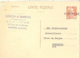 Gandon 12f   -    Parthenay    Entier Postal Petit Format - Storia Postale