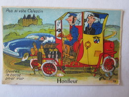 14 Calvados Honfleur Illustrateur Carte à Système (complet, Avec Dépliant) Automobile Voiture - Honfleur