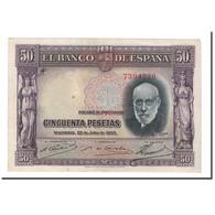 Billet, Espagne, 50 Pesetas, 1935, 1935-07-22, KM:88, TTB - [ 2] 1931-1936 : Republic