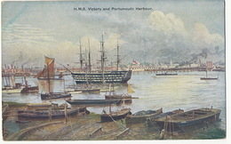 Art Card Portsmouth Harbour With Ship H.M.S. Victory - Portsmouth