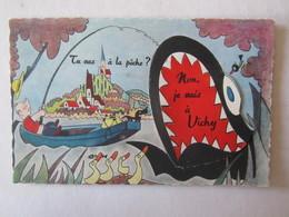 03 Allier Vichy Tu Vas à La Pêche Non Je Suis à  Illustrateur Carte à Système (complet, Avec Dépliant) - Vichy