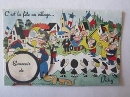 03 Allier Vichy C'est La Fête Au Village Illustrateur Carte à Système (complet, Avec Dépliant) H Monier Pompier - Vichy