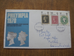 S025: FDC:PHILYMPIA 1970. London International Stamp Exhibition.5d, 9d & 1/6d 18 SEP 1970 Post Office First Day Cover. - FDC