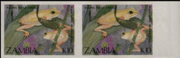 ZAMBIA 1989 Young Reed Frog K10 MARG.IMPERF.PAIR - Frogs