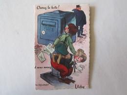 03 Allier Vichy Ouvrez La Boite Illustrateur Carte à Système (complet, Avec Dépliant) Boite Aux Lettres Facteur état - Vichy