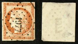 N° 5 40c CERES ORANGE B Oblit Cote 500€ Signé Calves - 1849-1850 Cérès