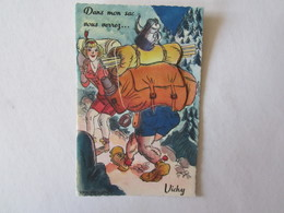 03 Allier Vichy Dans Mon Sac Vous Verrez Illustrateur Carte à Système (complet, Avec Dépliant) Marcheur Camping - Vichy