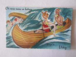 03 Allier Vichy On Vous Mène En Bateau  Illustrateur Carte à Système (complet, Avec Dépliant) Canoë - Vichy