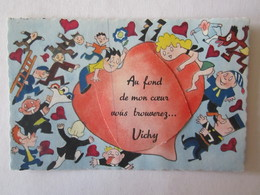 03 Allier Vichy Au Fond De Mon Coeur Vous Trouverez  Illustrateur Carte à Système (complet, Avec Dépliant) Canoë - Vichy