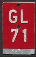 Velonummer Glarus GL 71 - Plaques D'immatriculation