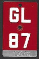Velonummer Glarus GL 87 - Plaques D'immatriculation