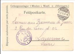 WO1 Kriegsgefangene.POW.Minden>Suisse-Schweiz - 1. Weltkrieg