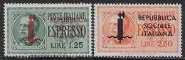 Italia Italy 1944 RSI Espressi Fascio Soprastampato Sa N.E21-E22 Completa Nuova MH * - 4. 1944-45 Repubblica Sociale