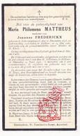 DP Maria P. Mattheus ° Scherpenheuvel Zichem 1845 † Rillaar Aarschot 1926 X J. Frederickx - Devotion Images