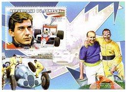Senegal  - Grand Prix Drivers -  Ayrton Senna - Stirling Moss - J.M.Fangio - Hermann Lang  - 1v  Feuillet Neuf/Mint/MNH - Cars