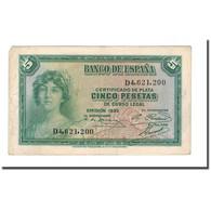 Billet, Espagne, 5 Pesetas, 1936, 1935, KM:85a, TTB - [ 3] 1936-1975 : Régence De Franco