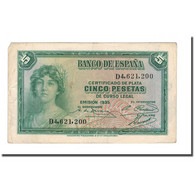 Billet, Espagne, 5 Pesetas, 1936, 1935, KM:85a, TTB - 5 Pesetas