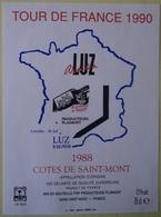 ETIQUETTE CYCLISME TOUR DE FRANCE 1990  LUZ SAINT SAUVEUR COTES DE SAINT-MONT 1989 - Cyclisme