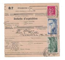 1938 - BULLETIN D'EXPEDITION CAD STRASBOURG PRINCIPAL BAS RHIN (ALSACE LORRAINE) AFFRANCHISSEMENT AVEC TIMBRE FISCAL - Marcophilie (Lettres)