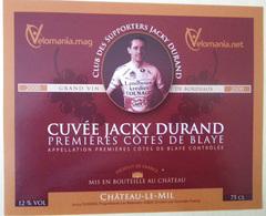 ETIQUETTE CYCLISME CUVEE JACKY DURAND PREMIERES COTES DE BLAYE CHATEAU LE MIL 2000 - Cyclisme
