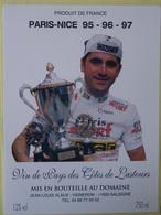 ETIQUETTE CYCLISME PARIS-NICE 95-96-97 JALABERT COTES DE LASTOURS SALSIGNE - Cyclisme