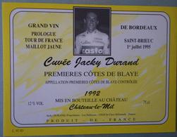 ETIQUETTE CYCLISME CUVEE JACKY DURAND PROLOGUE TOUR DE FRANCE ST BRIEUC 1995 COTES DE BLAYE1992 - Cyclisme