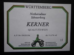 ETIQUETTE CYCLISME DRAISIENNE WURTTEMBERG KERNER QUALITATSWEIN - Cyclisme