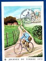 Carte   / Journée Du Timbre / Facteur Rural à Bicyclette En 1894 / Troyes / 18 Mars 1972 - Maximum Cards