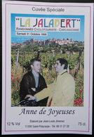 ETIQUETTE CYCLISME LA JALABERT RANDONNEE CYCLO CARCASSONNE ANNE DE JOYEUSES ST POLYCARPE 1998 - Cyclisme
