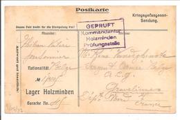 WO1 Kriegsgefangene.POW.Holzminden>Gravelines France.Accucé De Réception De Paquet - 1. Weltkrieg
