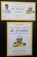 2 ETIQUETTES  CYCLISME 2ème  RANDONNEE CYCLO LA JALABERT CARCASSONNE 1995 ANNE DE JOYEUSES ST POLYCARPE - Cyclisme