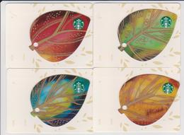 GIFT CARD - STARBUCKS - GERMANY - 6112 - Set Of 4 LEAVES Cards 2015 - Gift Cards